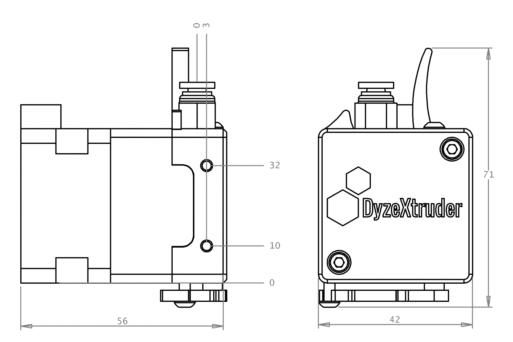 DyzeXtruder GT Dimensions