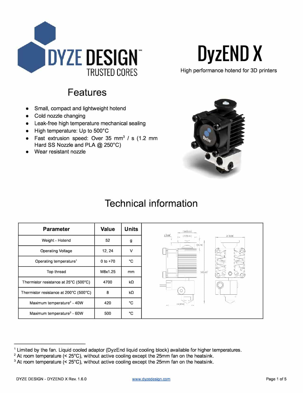 DyzEND-X HotEnd Specification