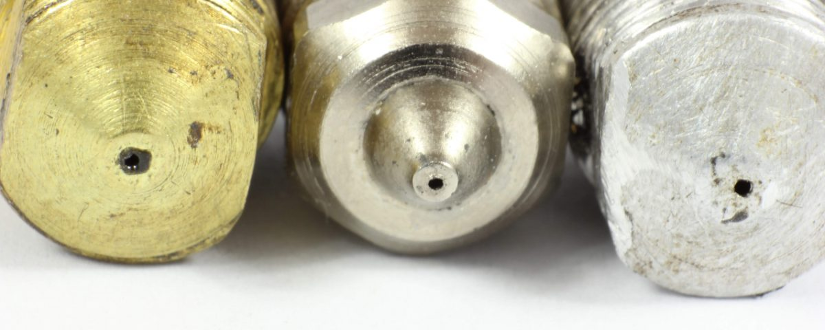 3d Printer Nozzles with showing abrasion and wear