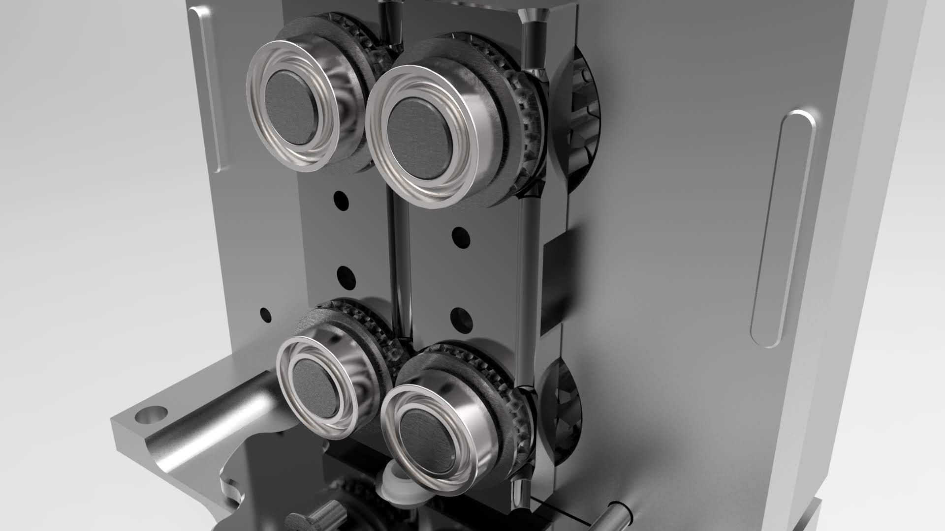 Quad Pinch Gear System on the Typhoon Extruder
