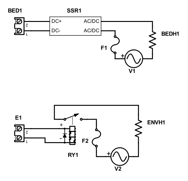 Diagram for connecting the AC voltage to the bed heater and chamber heater on the custom Dyze Design Cube Pro
