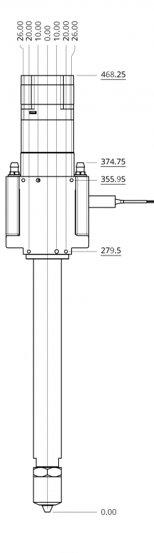 Dyze Design Pulsar Pellet Extruder - Technical Drawing