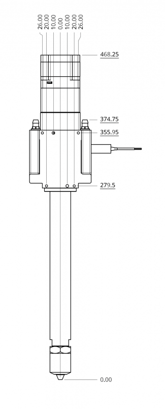 Dyze Design Pulsar Pellet Extruder - Technical Drawing