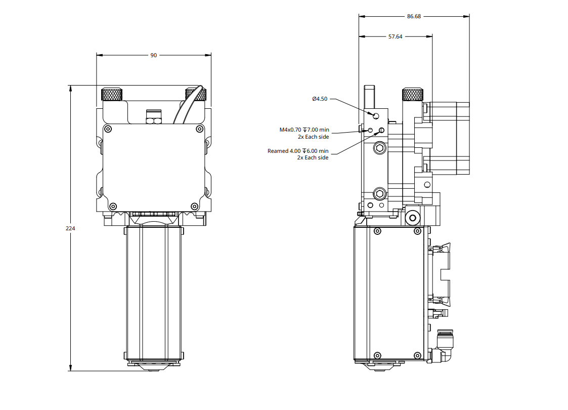 Typhoon™ Extruder Technical Drawing