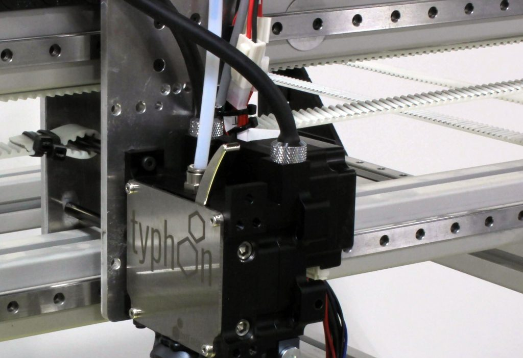 Typhoon extruder mounted on a printer with liquid cooling tubes